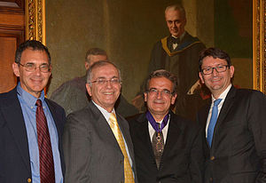 Ares J. Rosakis - Acting Caltech President Ed Stolper, JPL Director Charles Elachi, Commandeur dans l'Ordre des Palmes Académiques recipient Ares Rosakis, and Consul General of France in Los Angeles Axel Cruau (photo credit: Bill Youngblood)