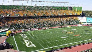 Canadian Football League - Edmonton's Commonwealth Stadium (shown during player introductions prior to a game) is the largest venue in the CFL.