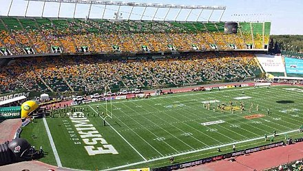 Edmonton's Commonwealth Stadium (shown during player introductions prior to a game) is the largest venue in the CFL. Commonwealth Stadium.jpg