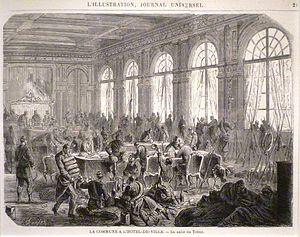 Hôtel de Ville durante la Comuna, de Alfred Darjou, en L'Illustration.