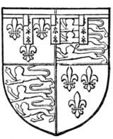 Fig. 722.—Richard, Duke of Gloucester (afterwards Richard III.): A label of three points ermine, on each point a canton gules.