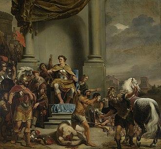 Titus Manlius Imperiosus Torquatus - Image: Consul Titus Manlius Torquatus laat zijn zoon onthoofden Rijksmuseum SK A 613