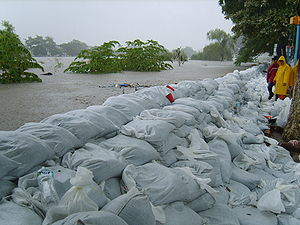 2007 Tabasco flood - Using sandbags to try to contain the water