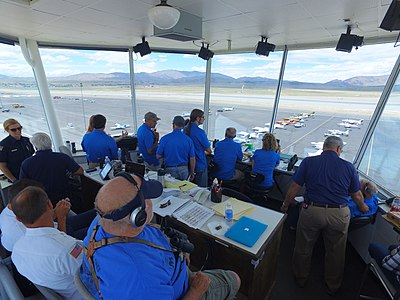 Control Tower during the 2016 National Championship Air Races Pylon Racing Seminar shows a rare view inside the tower during qualifying for the worlds ONLY remaining venue of the Reno Air Races. This photo was shot with the DJI X5 MFT Camera using a Osmo gimbal system.