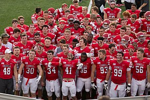 Cornell Big Red football - The 2017 team after a win against Brown.