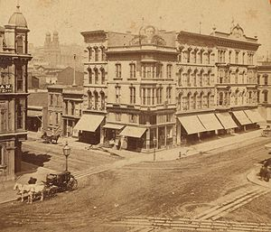 Geary Boulevard - Geary and Kearny after 1860 but before the installation of streetcar lines