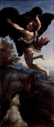 Ganymede Abducted by the Eagle, one of the four mythological paintings commissioned by Federico II Gonzaga, is a proto-Baroque work due to its depiction of movement, drama, and diagonal compositional arrangement.