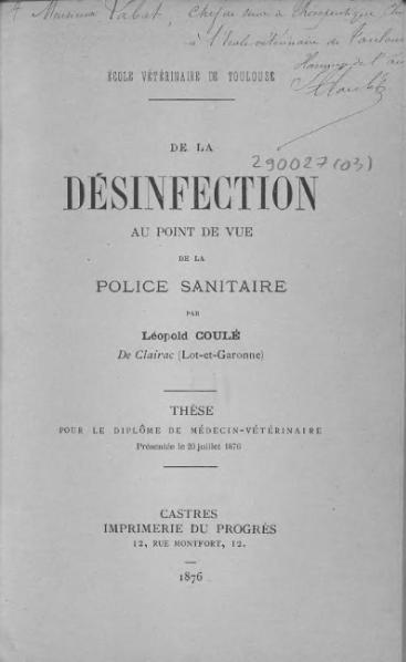 File:Coule - De la désinfection au point de vue de la police sanitaire.djvu