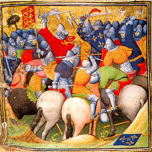 Bascinet - Illustration from a 15th-century manuscript showing horsemen wearing bascinets with the rounded visor used from c.1410