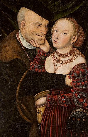 Trophy wife - The ill-matched couple, by Lucas Cranach (c. 1550), National Museum in Warsaw