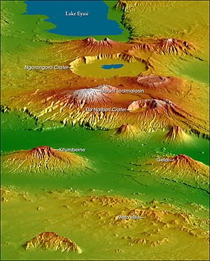 Gelai Volcano - Topographical map of the Crater Highlands, looking from the north to the southwest. Gelai is to the lower right