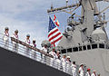 Crewmembers of the guided-missile destroyer USS Michael Murphy (DDG 112) man the rails as the ship arrives at her homeport of Joint Base Pearl Harbor-Hickam, Hawaii, on Nov 121121-N-KT462-187.jpg