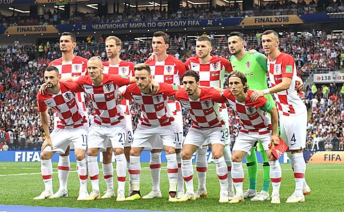 The national squad, lining up for the 2018 FIFA World Cup Final. Croatia WC2018 final.jpg