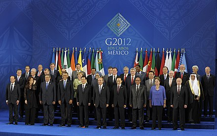 Mariano Rajoy in a G-20 Summit in Mexico. Spain is a permanent guest of the G-20. Cumbre del G20 en Los Cabos, Mexico.jpg