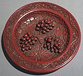 Cup stand with grape design from China, Xuande era, carved red lacquer.JPG
