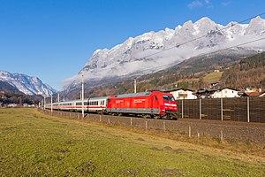 Salzburg-Tyrol Railway - ÖBB EuroCity train near Pfarrwerfen.