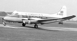 De Havilland Heron - De Havilland DH.114 Heron 2 of Cambrian Airways at Manchester Airport operating a scheduled service in April 1958
