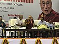 Dalai Lama, Manish Sisodia and Arvind Kejriwala on Happiness Curriculum Launch.jpg