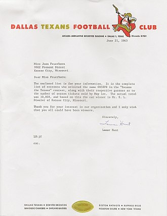 History of the Kansas City Chiefs - Football Club Naming Contest Letter from Lamar Hunt