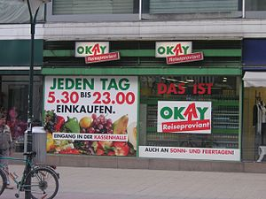 Shopping hours - A convenience store at a Vienna train station selling Reiseproviant (travel provisions), the usual code for expanded opening hours