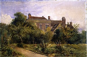 David Cox (artist) - Greenfield House in Harborne, Birmingham – where Cox lived from 1841 until his death in 1859 – pictured by his son David Cox Jr..