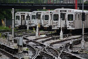Toronto subway rolling stock - H5 and T1 trains parked at the Davisville Subway Yard