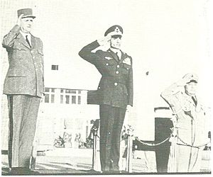 Bahram Aryana - State visit by De Gaulle to Iran. From left to right; Charles de Gaulle, Mohammad Reza Pahlavi, and Bahram Aryana.