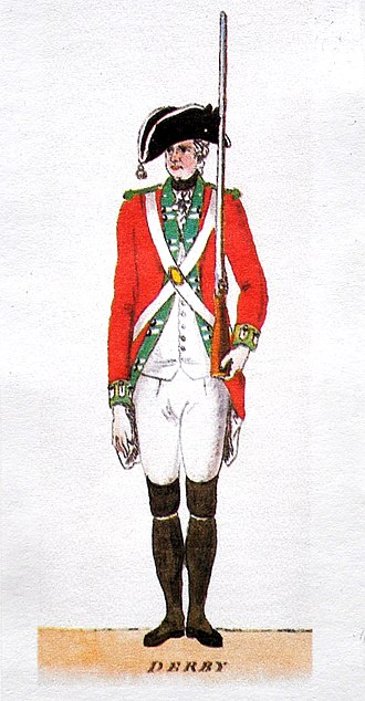 George Wickham -  A militiaman who serves in the Derbyshire militia, like Wickham does.  Watercolour by an unknown artist, 1780.