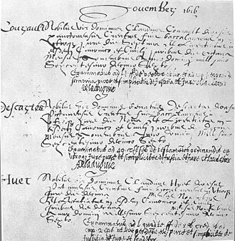 René Descartes - Graduation registry for Descartes at the University of Poitiers, 1616