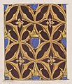 Design for wallpaper featuring blue shields surmouted by crowns MET DP811315.jpg