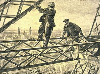 Two Workers Seated on a Beam of the Eiffel Tower