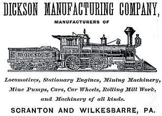 Dickson Manufacturing Company - Dickson advertisement from the 1870s