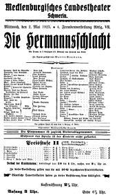 Die Hermannsschlacht, Theaterankündigung von 1923 (Quelle: Wikimedia)