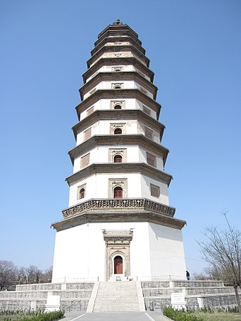 The Liaodi Pagoda, the tallest pre-modern Chinese pagoda built in 1055, was built as a Buddhist religious structure, yet it served a military purpose as a watchtower for reconnaissance. Dingzhou Liaodi Pagoda 4.jpg