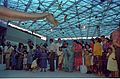 Diplodocus with Visitors - Dinosaurs Alive Exhibition - Science City - Calcutta 1995-June-July 063.JPG