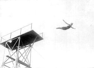 Diving - Swedish high diver Arvid Spångberg at the 1908 Olympic Games from the fourth Olympiad.
