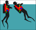 Diver with later jacket BCD stabilised at surface.png