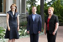 Tarja Halonen (right) meeting with the third President of Russia Dmitry  Medvedev and the then Prime Minister of Finland Mari Kiviniemi (left) in  2010. 8f0170096b