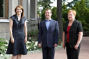 Tarja Halonen - Tarja Halonen (right) meeting with the third President of Russia Dmitry Medvedev and the then Prime Minister of Finland Mari Kiviniemi (left) in 2010.