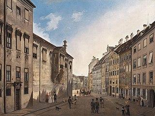 Die Residenzstraße gegen den Max-Joseph-Platz im Jahr 1826