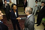 Donald Rumsfeld greets Secretary of State Condoleezza Rice in Baghdad, Iraq, on April 26, 2006.jpg