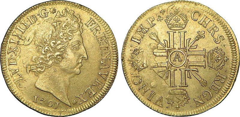 File:Double louis d'or aux huit L et insignes à l'effigie de Louis XIV.jpg
