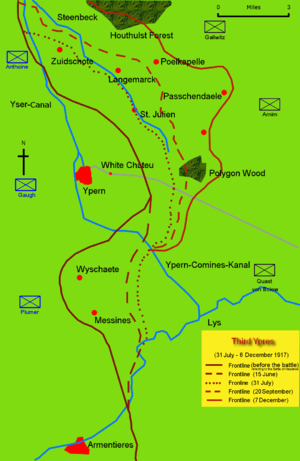 Action on the Polderhoek Spur - Diagram showing the front line in November 1917 (Polderhoek Spur is south of Polygon Wood)