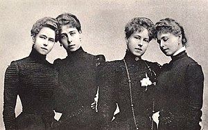 Marie of Romania - Marie (far right) and her sisters in mourning after the death of their father, 1900