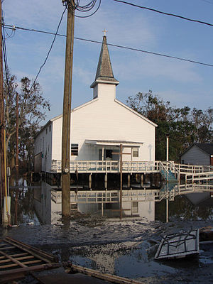 Dulac, Louisiana - Church in Dulac after Hurricane Ike flooding