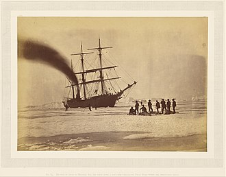 Melville Bay - 1869 photograph of a steamer and a party of hunters in Melville Bay.