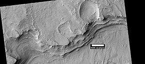 Flammarion (Martian crater) - Layers in wall of Flammarion Crater, as seen by HiRISE under the HiWish program.