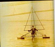 Dr. George A. Spratt towed his single hang point glider on floats using a motorboat. 1929. [98][99]
