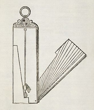 Inclinometer - Drawing of an inclinometer, Museo Galileo, Florence.