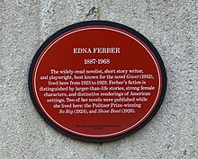 Plaque Located In Manhattan At 65th Street Central Park West The Building Which Edna Ferber Lived For Six Years